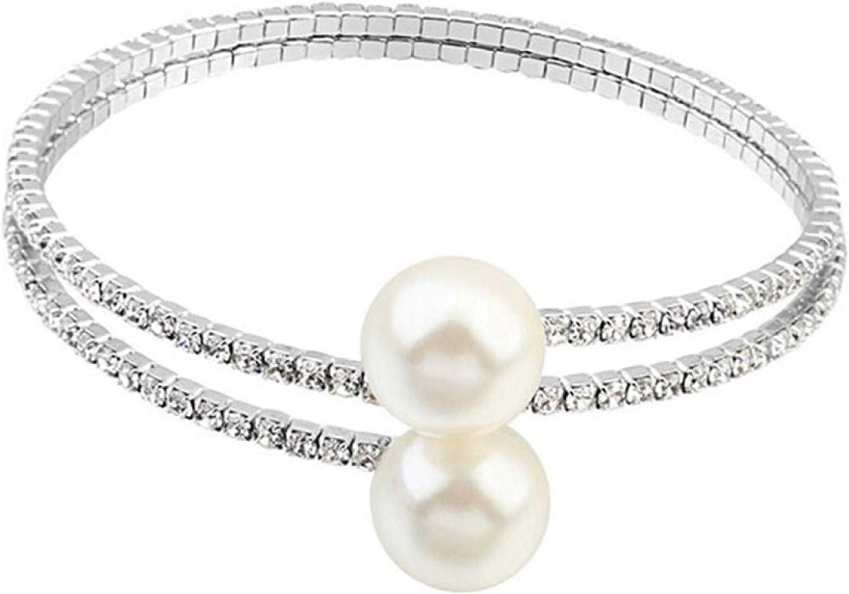 ink2055 Women Full Rhinestone Multi-Layer Wrist Bracelet Faux Pearl Cuff Open Bangle,Bracelets for Women Teen Girls Gift