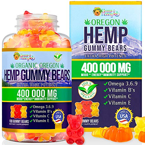 HEMP & HONEY RX-Organic Oregon Hemp Gummies | 400,000 MG |100 Gummies |Stress, Pain & Anxiety Relief |Calm, Healthy Sleep, Relaxation & Immune Support | Adults &Kids |Made in USA