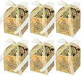 Naler 40 Mini Caja de Regalo de Dulces Navideños para Árbol de Navidad Caja de Caramelos Fiesta (Oro Láser, 5x5x7,5cm)