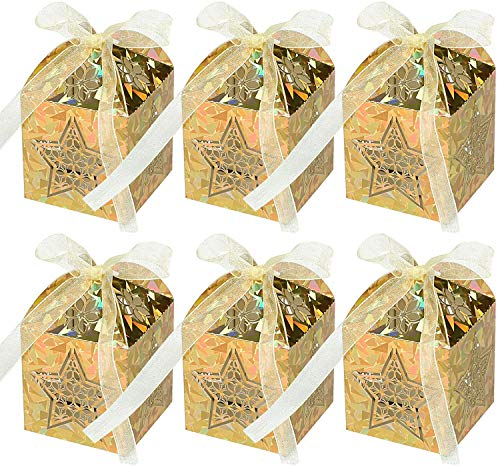 Naler 40 Mini Caja de Regalo de Dulces Navideños para Árbol de Navidad Caja de Caramelos Fiesta...