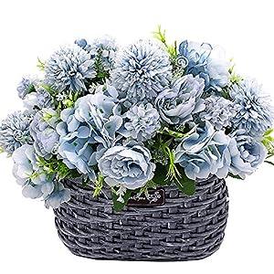 Grunyia 4 Bouquet Artificial Flowers, Fake Peony Silk Hydrangea Camellia…