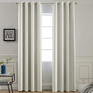 Yakamok Room Darkening Thermal Insulated Light Blocking Blackout Curtains, 2 tie Backs Included(52Wx84L,Light Beige,2 Panels)