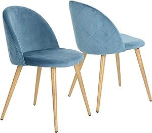 Coavas Sedie in morbido velluto, seduta e schienale imbottiti con gambe in metallo stile legno per sedie da camera da pranzo e soggiorno Blue