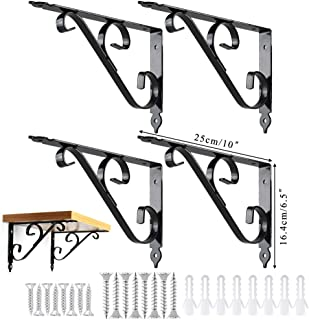 Shelf Brackets, ETSAMOR 4pcs 10''L x 6''H Thicken Iron L-Shaped Decorative Shelf Supporter Right Angle Brackets with Free Screw Accessories for Storage Display Floating Shelf