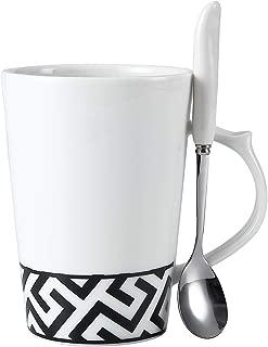 Coffee Tea Mug with Spoon Bone China Black and White 13 Ounce for Coffee, Tea, Cocoa, Dishwasher and Microwave safe