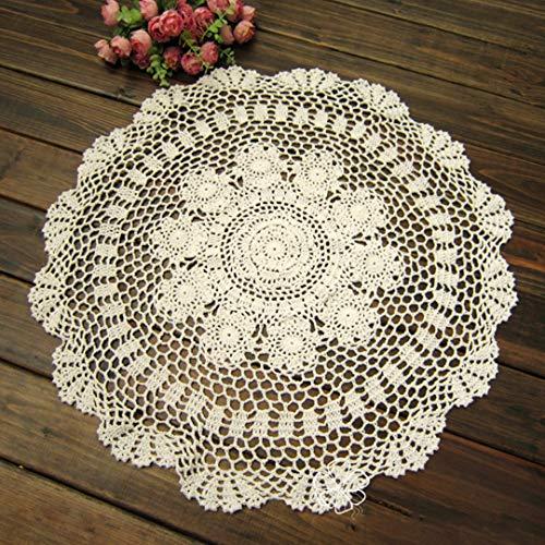 NaroFace Geklöppelte Deckchen Baumwolle Spitzendeckchen Rund Handarbeit Placemat,50 cm/20 Zoll (Weiß)