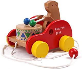 Lazan Walk Behind Toys for Baby Girls Boys Push and Pull Toys Walker Bear Knock The Drum (Bear)