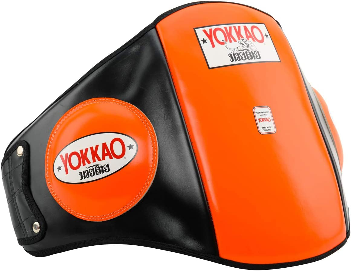 YOKKAO Premium Leather Belly Pads for Muay Thai Boxing Kickboxing MMA