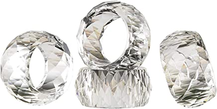 DONOUCLS Crystal Napkin Ring Holders - 2 Inch Set of 12,  Table Party Wedding Set Christmas Decorations for Dinner