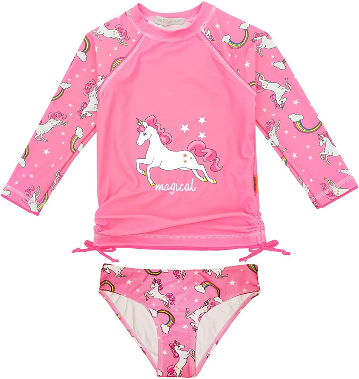 Max 51% OFF weVSwe Girls Rash Guard Swimsuit Virginia Beach Mall Rare Suit Hem UPF Bathing Cuffs