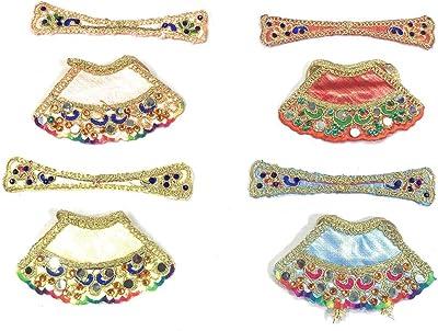 Sheel Cosmetics Silk Crystal Plated MATA Rani Poshak Blue,Peach,red&White Pack of 4 (Size 0)