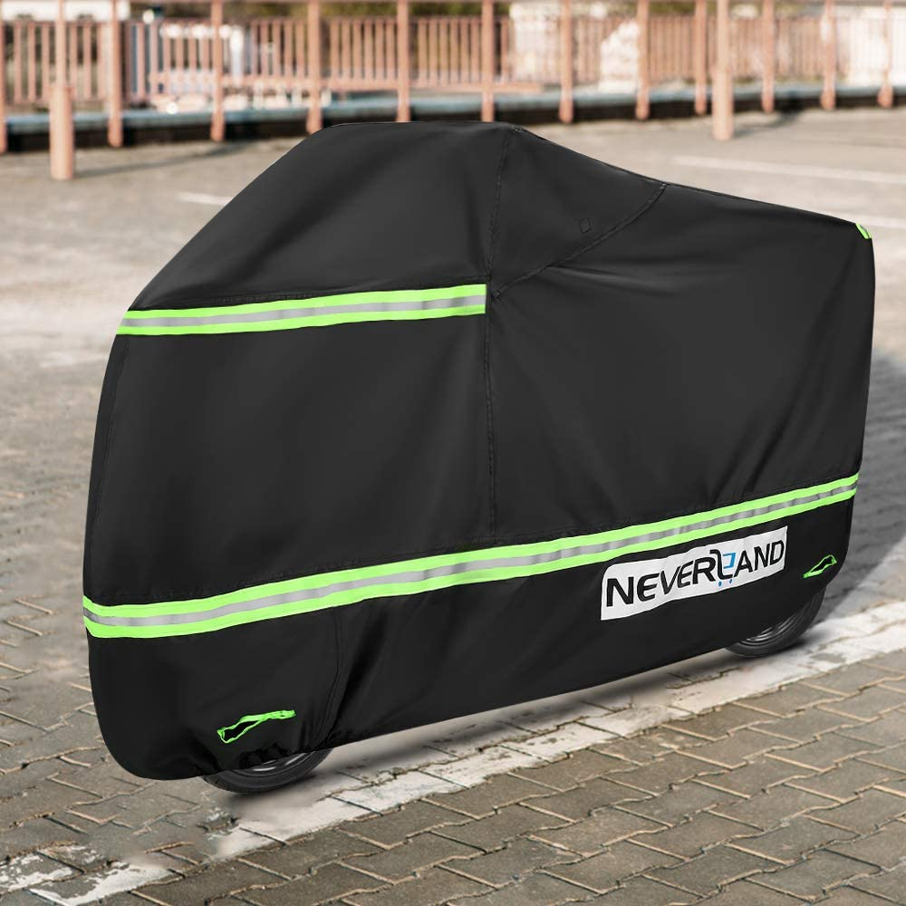 Kawasaki Yamaha and All Motors -L Honda Suzuki Waterproof Motorcycle Cover,NEVERLAND Winter Snow Cover All-Weather Outdoor Protection /& Reflective Anti-tear Heavy Motorcycle Cover for Harley