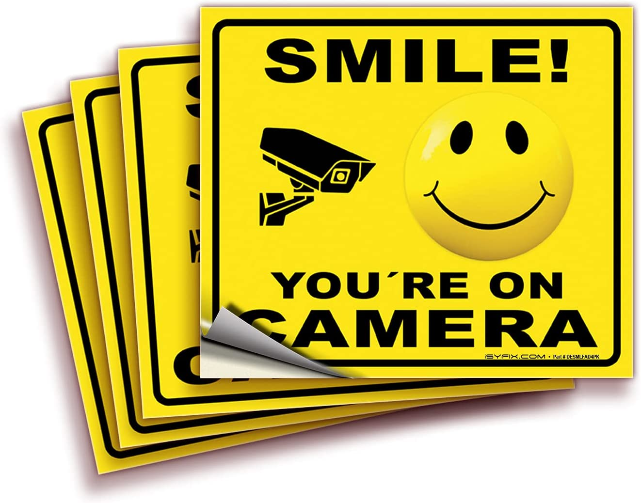 Smile You're On Camera Signs Product Stickers – 4 Max 64% OFF 7x6 Pack Inch Premiu