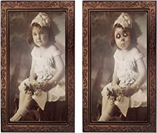 Takefuns Halloween Lenticular 3D Changing Face Moving Picture Frame Horror Portrait Lady Gentleman Little Girl Monster Haunted Spooky Decorations for Halloween Theme Party Home Decor