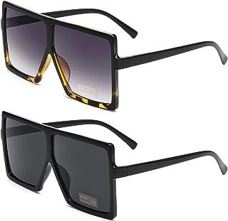 GRFISIA Square Oversized Sunglasses for Women Men Flat...