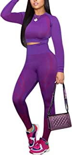 Women's Workout Outfit 2 Pieces High Waist Bodycon Yoga Leggings and Long Sleeve Crop Top Gym Clothes Set Tracksuit