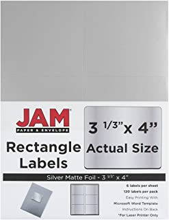 JAM PAPER Shipping Address Labels - Large - 3 1/3 x 4 - Metallic Silver - 120/Pack