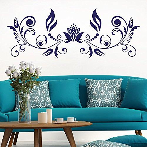 KLEBEHELD® Wandtattoo Barockstil Ornament | Barocke Formen | Größe 100x37cm, Farbe weiss