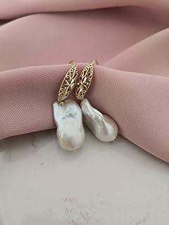 Orecchini Sposa in Argento 925 Placcato Oro con Perle Barocche