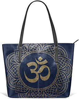 Gold Ohm Mandala Leather Tote Large Purse Shoulder Bag Portable Storage HandBags Convenient Shoppers Tote