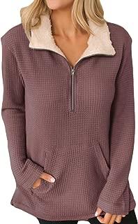 ANRABESS Women Winter Warm Long Sleeve Half Zipper Lapel Sherpa Fleece Lined Waffle Knit Pullover Tops Coat Outwear