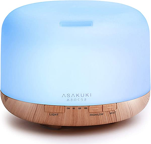 ASAKUKI 500ml Premium Essential Oil Diffuser 5 In 1 Ultrasonic Aromatherapy Fragrant Oil Humidifier Vaporizer Timer And Auto Off Safety Switch 7 LED Light Colors