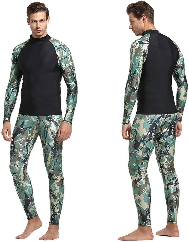 QSFDM Wetsuit Camouflage Mens Wet Suits Shirt Pant Long Sleeve Anti-UV Swimming Surfing Swimwear Swimsuit Plus 3XL Windsurf Bathing Suit