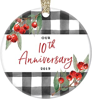 10th Wedding Anniversary 2019 Christmas Ornament Tenth Holiday Married Couple Ten 10 Years Decade Together Present Spouse Partner Husband Wife 3