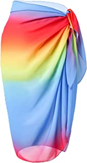LIENRIDY Women's Beach Sarong Pareo Swimwear Cover Ups Rainbow Middle L-XL