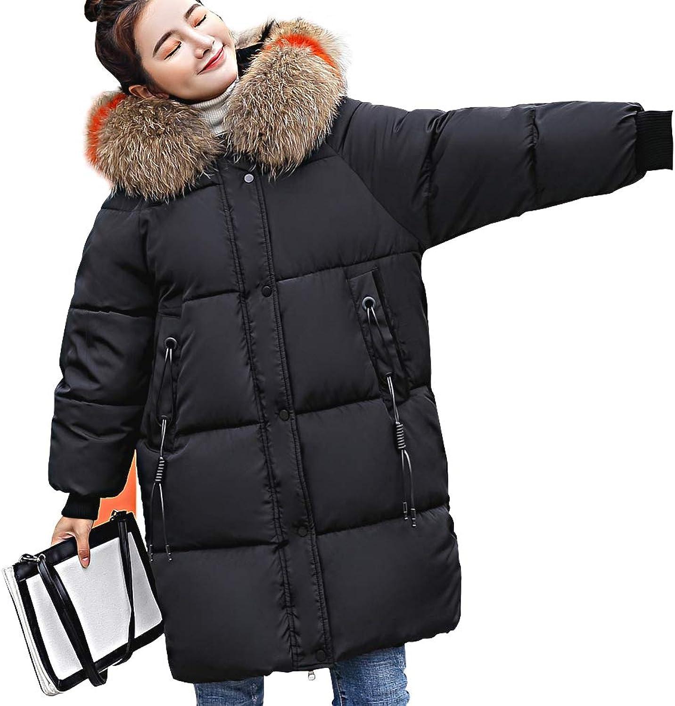 LISUEYNE Women's Down Jacket with Fur Hood Long Thicken Parkas Women Warm Winter Coat