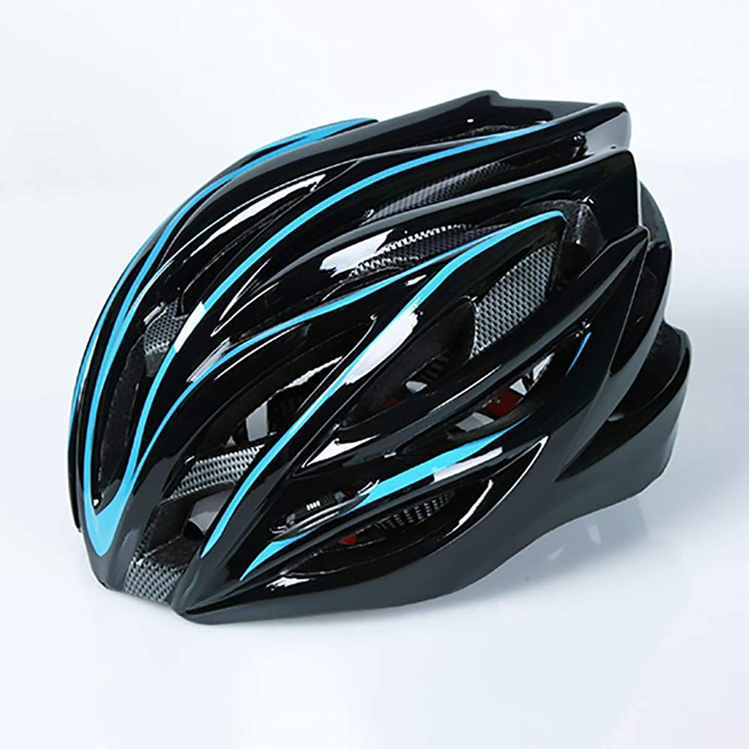 HYH Black and blueee Stripes Adult Bicycle Helmet Riding Electric Car Motorcycle Helmet Bicycle Mountain Bike Helmet Outdoor Riding Equipment Good Life