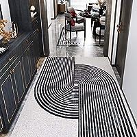 黒と白の幾何学的な屋内ドアマット、PVC靴砂収集フロアマット、ホームエントランスホールマットは滑り止めポーチカーペットをカットできます