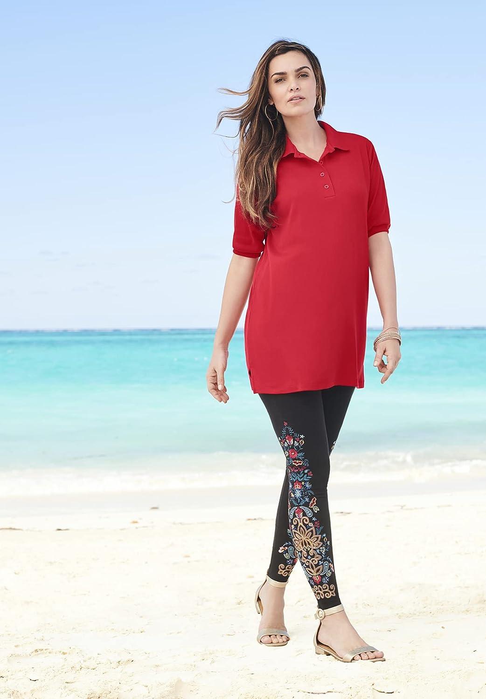 Roamans Women's Plus Size Oversized Polo Tunic Short Sleeve Big Shirt
