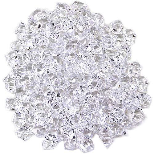 Xinlie Künstliche Acryl Eiswürfel Plastikeiswürfel Dekosteine Diamanten Tischdeko Deko Glassteine Deko Diamanten Kristalle Diamanten Für Vase Füller und Tischdekoration ca. 820 Stück (Durchsichtig)