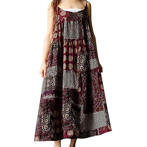 5f1dccab348 SMILEQ Dress Women Summer Sleeveless Dress Casual Linen Strappy Loose Boho Print  Skirt Plus Size Long