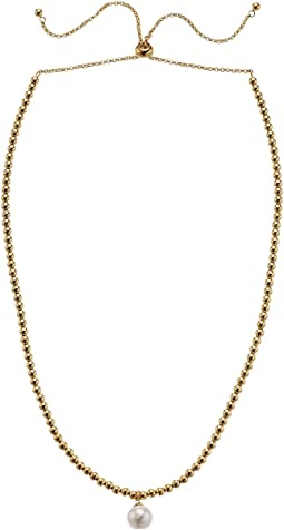 Atlas - 10 mm White Round Pearl in Gold Plated Necklace