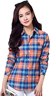neveraway Women's Long-Sleeve Button Plaid Cotton Casual Slim T-Shirts
