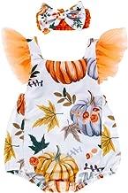 Newborn Baby Halloween Romper Outfit Pumpkin Bodysuit Sleeveless Romper Headband