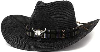 Bin Zhang Summer Men Women Straw Cowboy Hat Outdoor Beach Sun Hat Sunscreen Color Cow Head Gentleman Hat