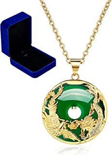Upforto Green Jade Necklace with Gold Dragon Phoenix, Lucky Donut Amulet Pendant Necklace 23.6'' for Mother Jewelry