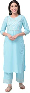 Pistaa's Women's Cotton Gota work Readymade Salwar Suit Set (Light Blue)