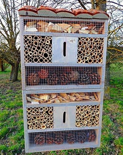 BTV insektenhotel, mit Holzrinde-Naturdach, FDV-Host-OS hellgrau Weiss grau Holz Lasur nistkästen Brutkasten Insekten XXL