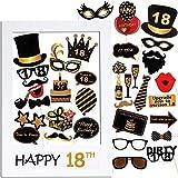VINFUTUR 18th Cumpleaños Photo Booth Props, 35pcs Photobooth Cumpleaños Accesorios Fotocall para Cabina de Foto Props Fiesta Kit+Marco Photocall Atrezzo para Cumpleaños Decoración DIY(kit 18th)