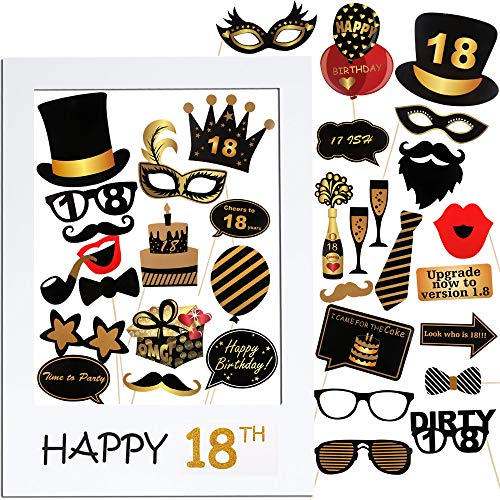 VINFUTUR 18th Cumpleaños Photo Booth Props, 35pcs
