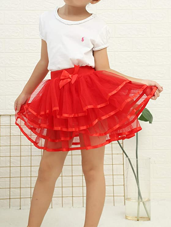 Adorel Girls Tutu Skirt Ruffly Full Party Danse Bowknot