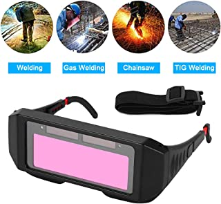 Ejoyous 1 Pair LCD Solar Power Auto Darkening Welding Goggle, Safety Protective Welder Glasses Mask Helmet with Adjustable Shade, Eyes Goggles Mask Anti-Flog Anti-glare Goggles-Black