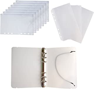 D-Worthy 7 pcs Translucent Plastic A6 Size Ziplock Envelope Case Bill Pouch 3 pcs Pockets Name Card Bag with 1pcs 6 Hole R...