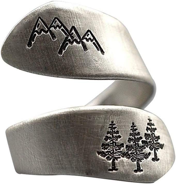Xf Simple Ladies Ring Green Tree Mountain Forest Brushed Wedding Ring Ladies Party Jewelry Creative Finger Opening Ring Main Stone Color : SV, Ring Size : Resizable