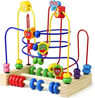 Wooden Fruits Bead Maze Roller Coaster Activity Cube Educational Abacus Beads Circle Toys Gift Colorful Activity Game for Children Toddlers Kids Boys Girls