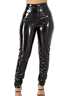 Women's Sexy Hight Waist Latex Pants PU Leather Lined Legging Wet Look Trousers